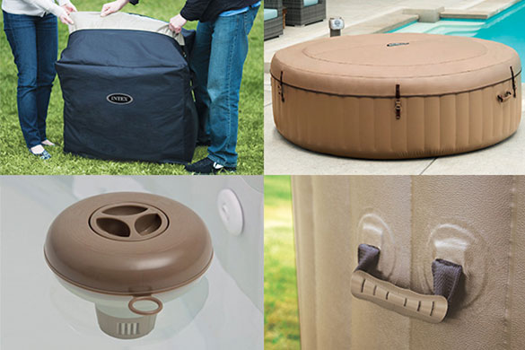Pack Spa Gonflable Intex Purespa Sahara Rond Bulles 4 Places