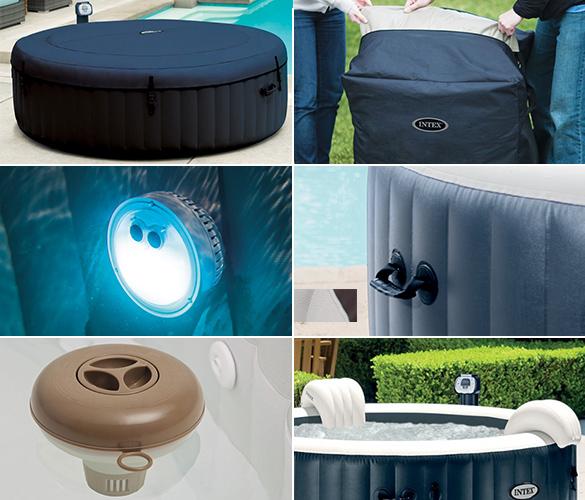 spa gonflable intex 6 places rond bulles led. Black Bedroom Furniture Sets. Home Design Ideas